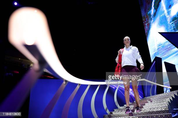 Petra Kvitova of the Czech Republic walks onto the court for her Women's Singles match against Ashleigh Barty of Australia on Day Five of the 2019...