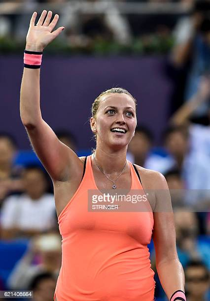 Petra Kvitova of the Czech Republic waves to the audience after winning the singles final match against Elina Svitolina of Ukraine at the WTA Elite...
