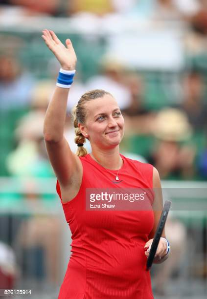 Petra Kvitova of the Czech Republic waves to the crowd after beating Kateryna Bondarenko of the Ukraine during Day 4 of the Bank of the West Classic...