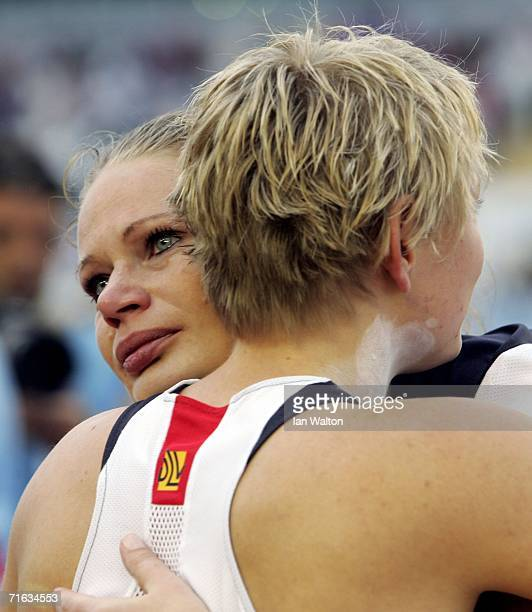 Petra Lammert of Germany embraces Nadine Kleinert of Germany following the Women's Shot Put Final on day six of the 19th European Athletics...