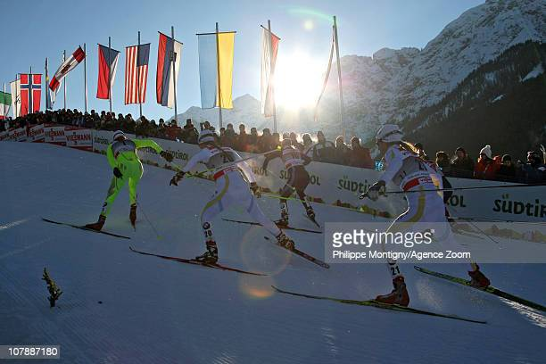 Petra Majdic of Slovenia Anna Haag of Sweden and Maria Rydqvist of Sweden compete during the individual sprint women for the FIS Cross Country World...