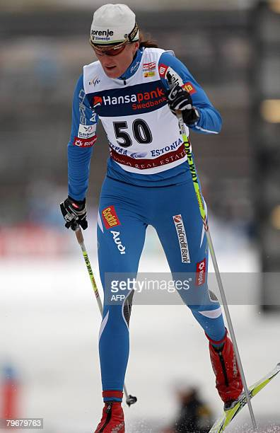 Petra Majdic of Slovenia competes in the nordic classicstyle 10 kms World Cup race on February 9 2008 in Otepaa Estonia Virpi Kuitunen of Finland won...