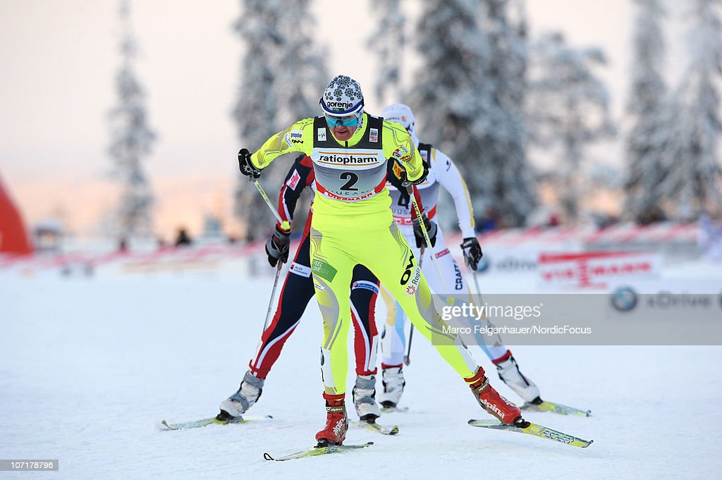 Petra Majdic of Slovenia leads in the women 10km free handicap start during the FIS World Cup Cross Country Skiing on November 28, 2010, in Kuusamo, Finland.