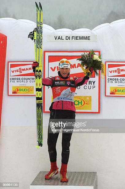 Petra Majdic of Slovenia poses after winning the mass women for the FIS Cross Country World Cup Tour de Ski on January 9 2010 in Val di Fiemme Italy