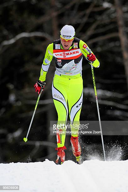 Petra Majdic of Slovenia takes 3rd place during the Women's of the FIS Tour De Ski on January 7 2010 in Toblach Hochpustertal Italy