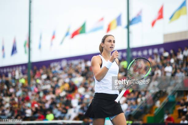 Petra Martic of Croatia celebrates a point in the semi-final match against Kristina Mladenovic of France on day six of Zhengzhou Open 2019 at...