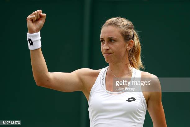Petra Martic of Croatia celebrates during the Ladies Singles third round match against Zarina Diyas of Kazakhstan on day six of the Wimbledon Lawn...