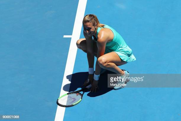 Petra Martic of Croatia celebrates winning match point in her third round match against Luksika Kumkhum of Thailand on day five of the 2018...