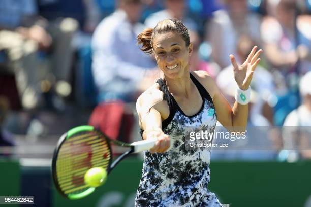Petra Martic of Croatia in action against Magda Linette of Poland in their Round One match during Day One of the Fuzion 100 Southsea Trophy at Canoe...