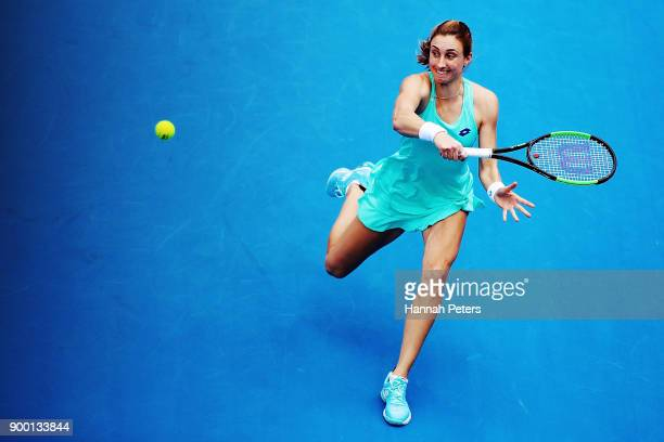 Petra Martic of Croatia plays a backhand in her first round match against Marketa Vondrousova of the Czech Republic during day one of the ASB Women's...