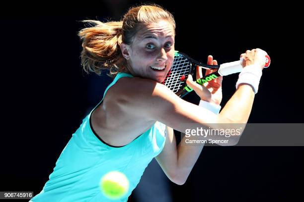 Petra Martic of Croatia plays a backhand in her third round match against Luksika Kumkhum of Thailand on day five of the 2018 Australian Open at...