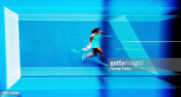 Petra Martic of Croatia plays a forehand in her first round match against Marketa Vondrousova of the Czech Republic during day one of the ASB Women's...