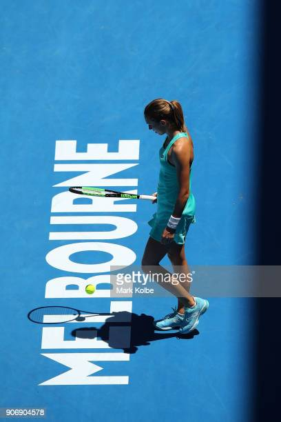 Petra Martic of Croatia prepares to serve in her third round match against Luksika Kumkhum of Thailand on day five of the 2018 Australian Open at...