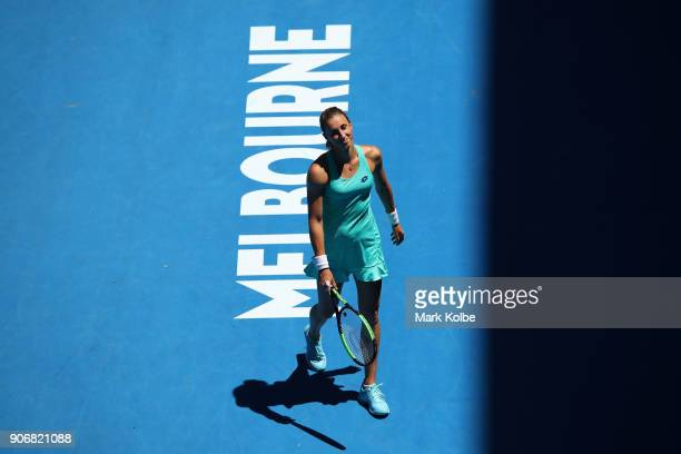 Petra Martic of Croatia reacts in her third round match against Luksika Kumkhum of Thailand on day five of the 2018 Australian Open at Melbourne Park...