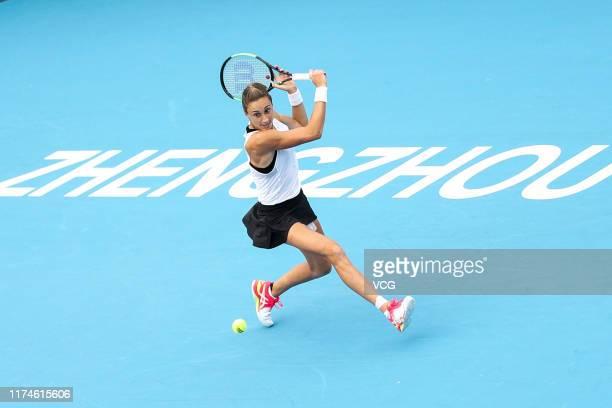 Petra Martic of Croatia returns a shot in the semi-final match against Kristina Mladenovic of France on day six of Zhengzhou Open 2019 at Zhongyuan...