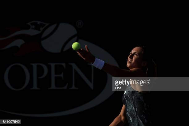 Petra Martic of Croatia serves against Agnieszka Radwanska of Poland during their first round Women's Singles match on Day Three of the 2017 US Open...