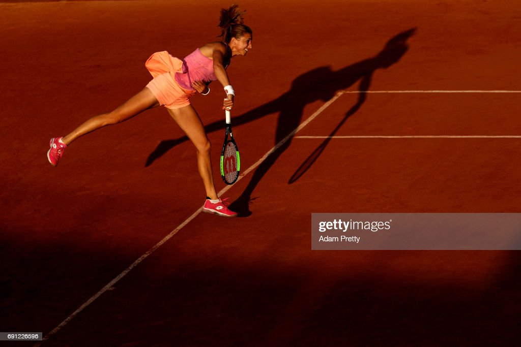 Petra Martic of Croatia serves during the ladies singles second round match against Madison Keys of the United States on day five of the 2017 French Open at Roland Garros on June 1, 2017 in Paris, France.