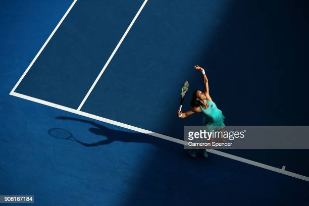 Petra Martic of Croatia serves in her fourth round match against Elise Mertens of Belgium on day seven of the 2018 Australian Open at Melbourne Park...