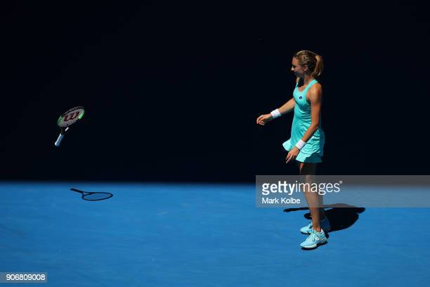 Petra Martic of Croatia throws her racquet in her third round match against Luksika Kumkhum of Thailand on day five of the 2018 Australian Open at...