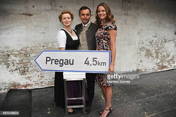 Petra Morze Harald Schrott and Patricia Aulitzky pose for the film 'Pregau' at Sargfabrik on October 9 2015 in Vienna Austria