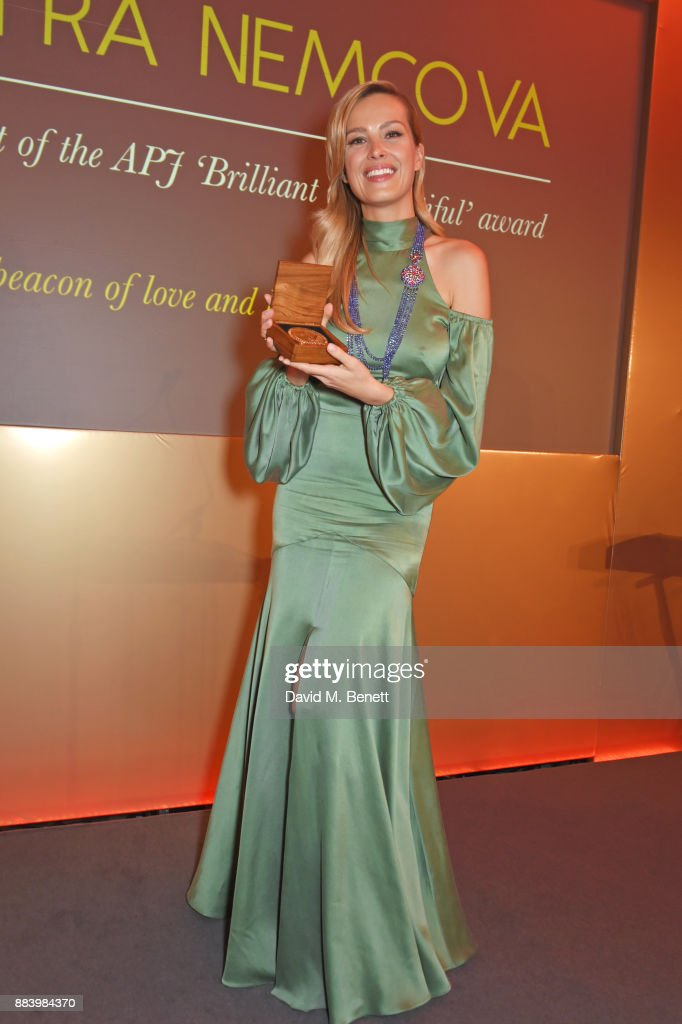 Petra Nemcova accepts the APJ Brilliant is Beautiful award at the BOVET 1822 Brilliant is Beautiful Gala benefitting Artists for Peace and Justice's Global Education Fund for Women and Girls at Claridge's Hotel on December 1, 2017 in London, England. To learn more visit www.apjnow.org or follow @artistsforpeace on Instagram and Twitter.