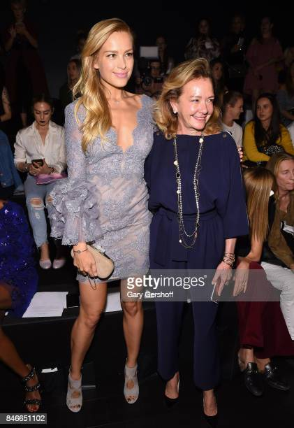 Petra Nemcova and Artistic Director and CoPresident of Chopard Caroline Scheufele attend the Marchesa fashion show during New York Fashion Week at...