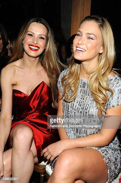 Petra Nemcova and Bar Refaeli attend the Marchesa Fall 2012 fashion show during MercedesBenz Fashion Week at The Plaza Hotel on February 15 2012 in...