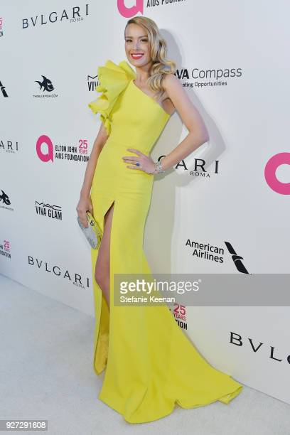 Petra Nemcova attends the 26th annual Elton John AIDS Foundation Academy Awards Viewing Party sponsored by Bulgari celebrating EJAF and the 90th...