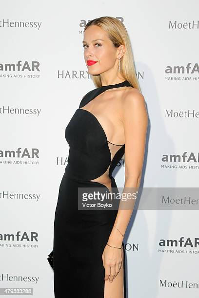 Petra Nemcova attends the amfAR dinner at the Pavillon LeDoyen during the Paris Fashion Week Haute Couture on July 5 2015 in Paris France