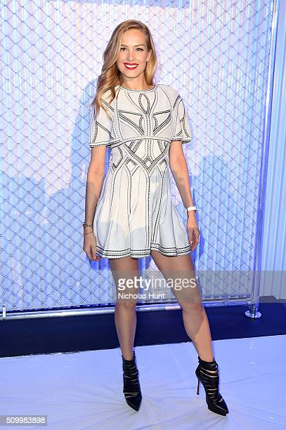Petra Nemcova attends the Herve Leger By Max Azria Fall 2016 fashion show during New York Fashion Week: The Shows at The Arc, Skylight at Moynihan...