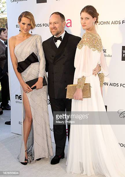 Petra Nemcova David Leppan and Alice Helm arrive at the 21st Annual Elton John AIDS Foundation Academy Awards Viewing Party at Pacific Design Center...