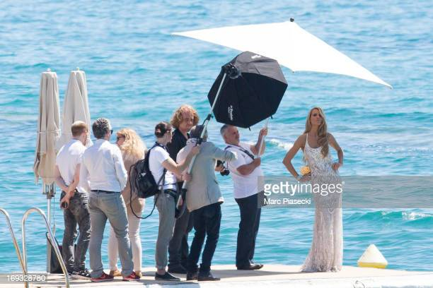 Petra Nemcova is seen during a photoshoot on the 'Plage du Martinez' during the 66th annual Cannes Film Festival on May 23 2013 in Cannes France