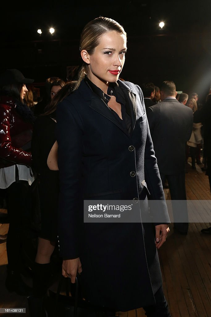 Petra Nemcova poses backstage at the Tommy Hilfiger Fall 2013 Women's Collection fashion show during Mercedes-Benz Fashion Week at the Park Avenue Armory on February 10, 2013 in New York City.