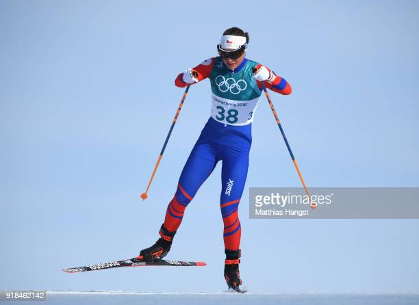Petra Novakova of the Czech Republic skis during the CrossCountry Skiing Ladies' 10 km Free on day six of the PyeongChang 2018 Winter Olympic Games...