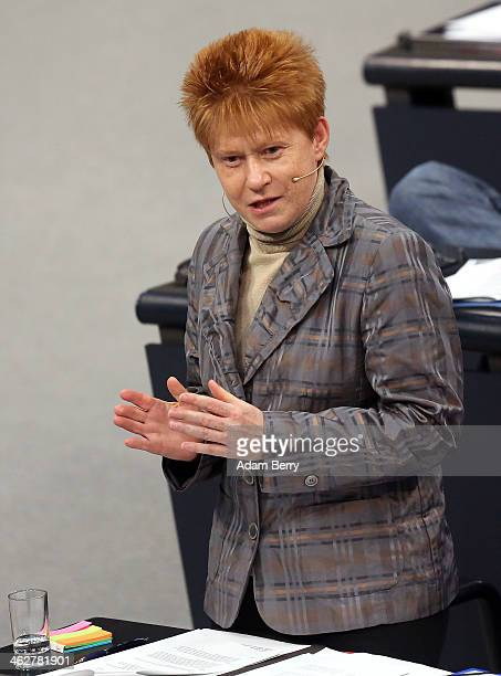 Petra Pau vice president of the Bundestag attends a meeting of the Bundestag or German federal parliament on January 15 2014 in Berlin Germany Among...