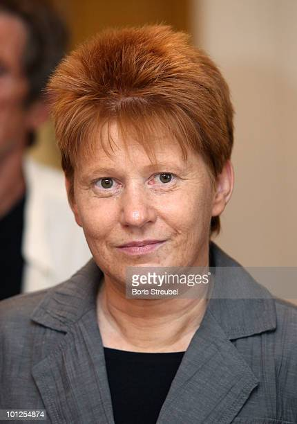 Petra Pau vice president of the German Bundestag attends a school visit where members of the German football association and Romani Rose of Central...