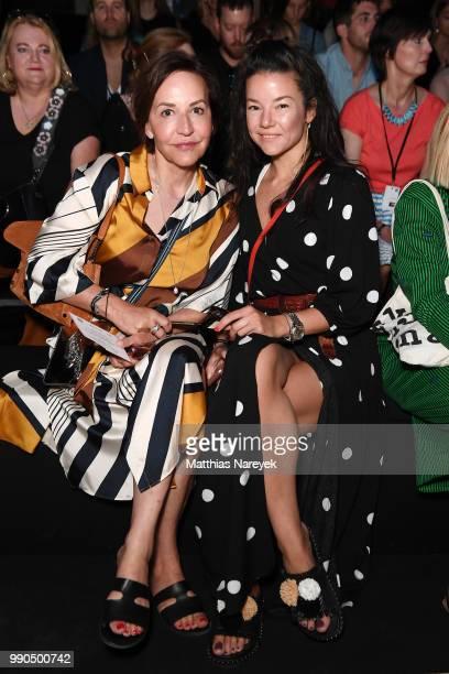 Petra Pfaller and Deborah Neufeld attend the MercedesBenz Presents Botter show during the Berlin Fashion Week Spring/Summer 2019 at ewerk on July 3...