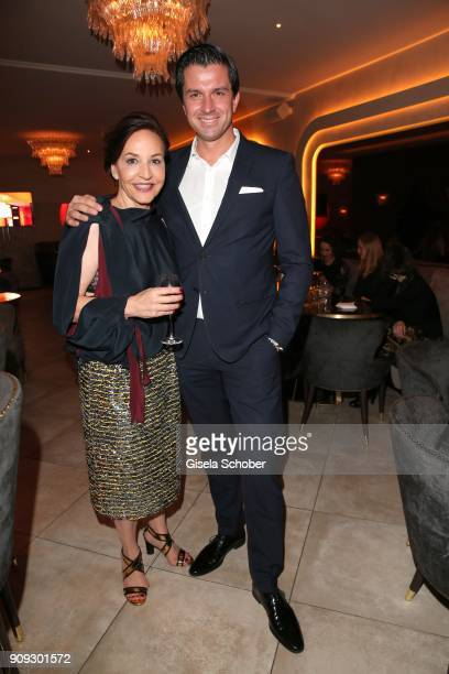 Petra Pfaller and Managing Director Jonas Grashey during the christmas party of magazine 'Bunte' at Tambosi on December 12 2017 in Munich Germany