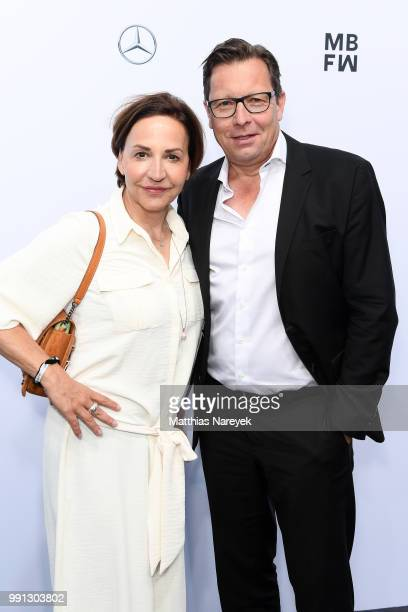 Petra Pfaller and Robert Poelzer attend the Sportalm Kitzbuehel show during the Berlin Fashion Week Spring/Summer 2019 at ewerk on July 4 2018 in...