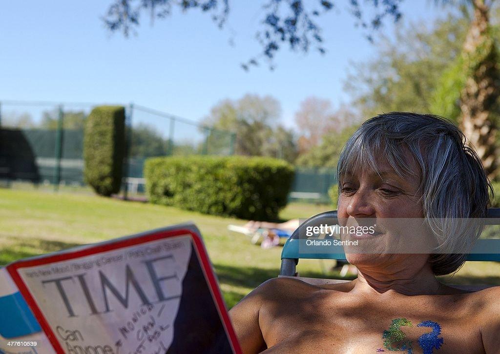 Petra Scheller, a snowbird from Canada, relaxes while