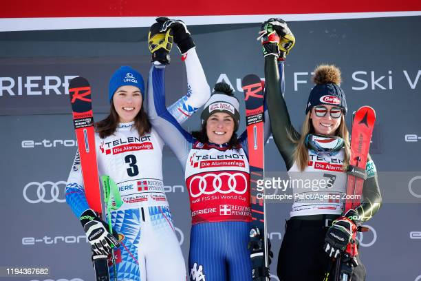 Petra Vlhova of Slovakia and Federica Brignone of Italy take 1st place Mikaela Shiffrin of USA takes 3rd place during the Audi FIS Alpine Ski World...
