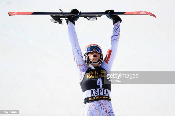 Petra Vlhova of Slovakia celebrates after winning the Ladies' Slalom during the 2017 Audi FIS Ski World Cup Finals at Aspen Mountain on March 18 2017...