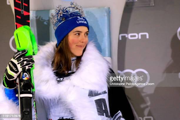 Petra Vlhova of Slovakia celebrates during the Audi FIS Alpine Ski World Cup Women's Slalom on January 4, 2020 in Zagreb Croatia.