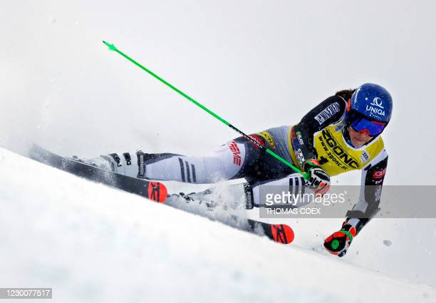 Petra Vlhova of Slovakia competes during the first run of the women's giant slalom event during the FIS Alpine Ski World Cup in Courchevel, French...