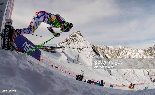 Petra Vlhova of Slovakia competes during the women's Giant Slalom event of the FIS ski World cup in Soelden Austria on October 28 2017 Viktoria...