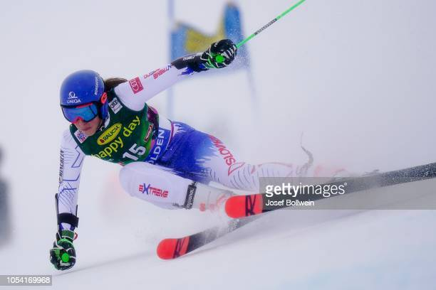Petra Vlhova of Slovakia competes in the second run of the AUDI FIS Ski World Cup Ladies Giant Slalom on October 27 2018 in Soelden Austria