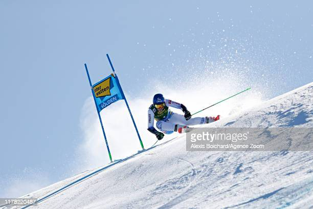 Petra Vlhova of Slovakia in action during the Audi FIS Alpine Ski World Cup Women's Giant Slalom on October 26, 2019 in Soelden, Austria.