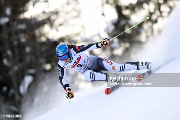 Petra Vlhova of Slovakia in action during the Audi FIS Alpine Ski World Cup Women's Giant Slalom in January 17, 2021 in Kranjska Gora, Slovenia.