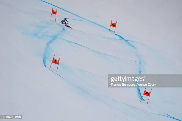 Petra Vlhova of Slovakia in action during the Audi FIS Alpine Ski World Cup Women's Downhill on January 23, 2021 in Crans Montana Switzerland.