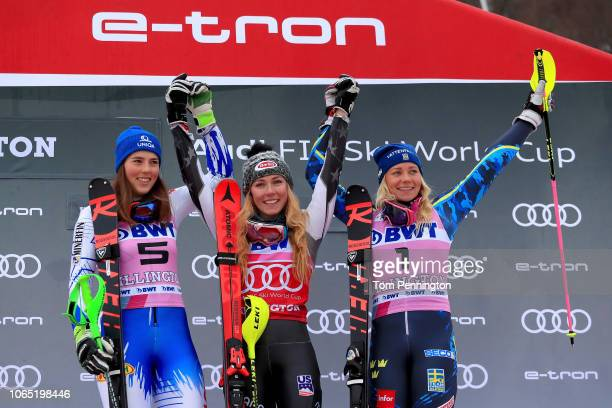 Petra Vlhova of Slovakia in second place Mikaela Shiffrin of the United States in first place and Frida Hansdotter of Sweden in third celebrate on...
